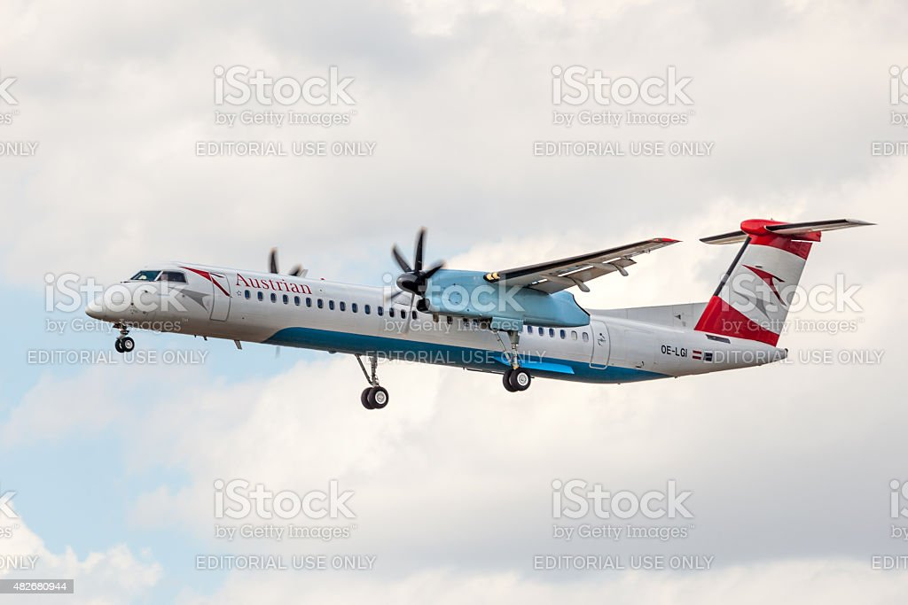 Austrian Airlines De Havilland Canada DHC-8-402Q stock photo