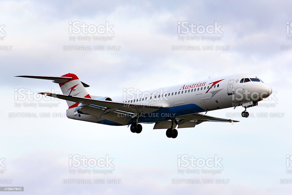 Austrian Airlines Fokker 100 stock photo