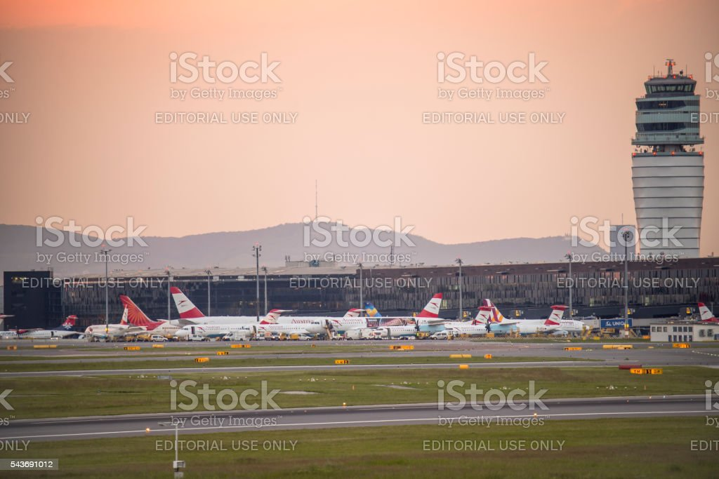 Austrian Airlines in sunset at Schwechat airport stock photo
