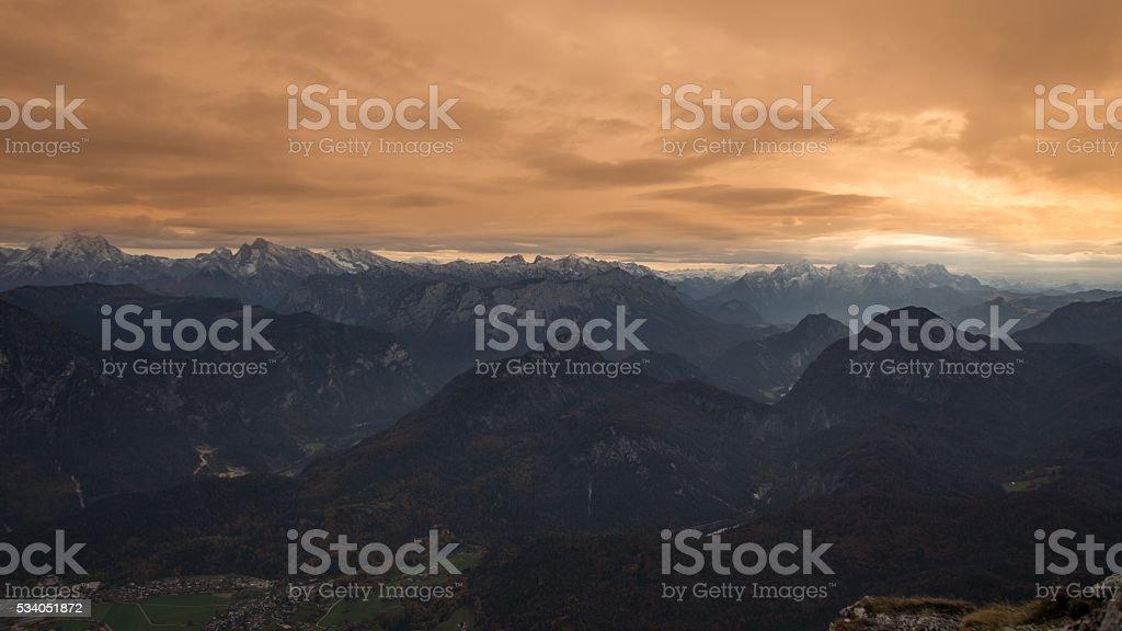 Austrian Alps in fall stock photo