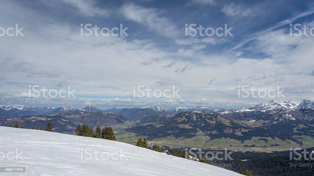 Austrian Alps near Kitzbuehel in winter stock photo