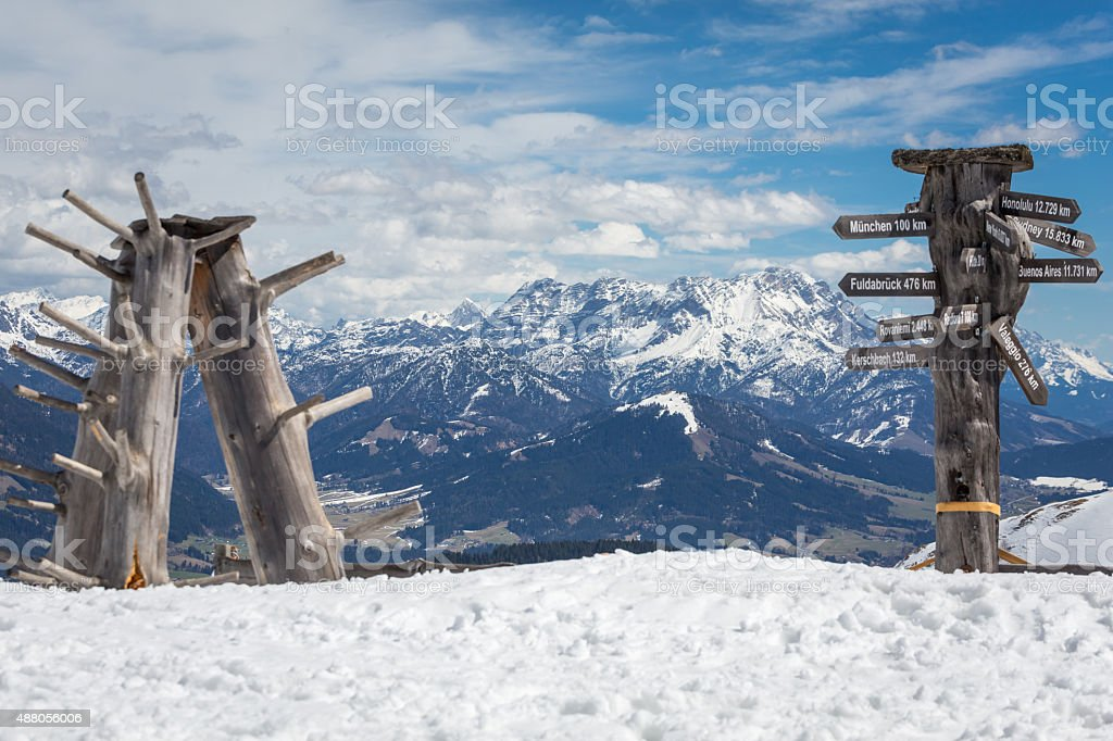 Austrian Alps near Kitzbuehel in winter stock photo