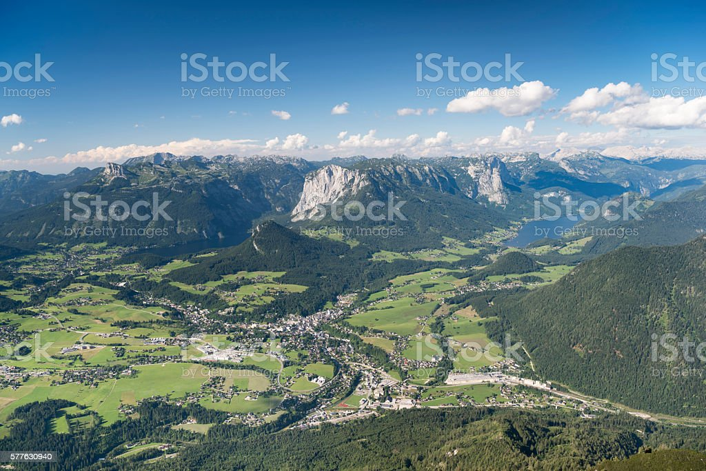 Austrian Alps Panorama, Lake Grundlsee and Altaussee, Bad Aussee stock photo