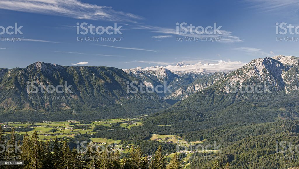 Austrian Alps Panorama with Glacier Dachstein stock photo