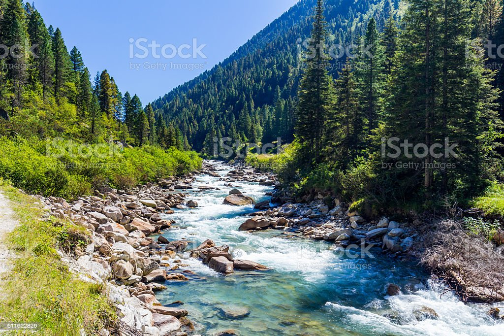 Austrian Alps. Starting famous Krimml waterfalls. stock photo