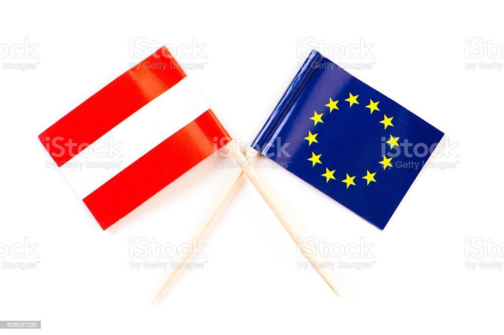 austrian and eu flag stock photo