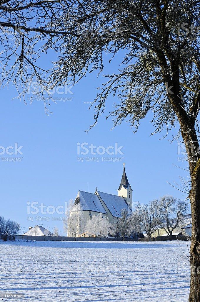 Austrian Church in Winter Landscape royalty-free stock photo