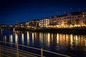Austrian city of Salzburg at night