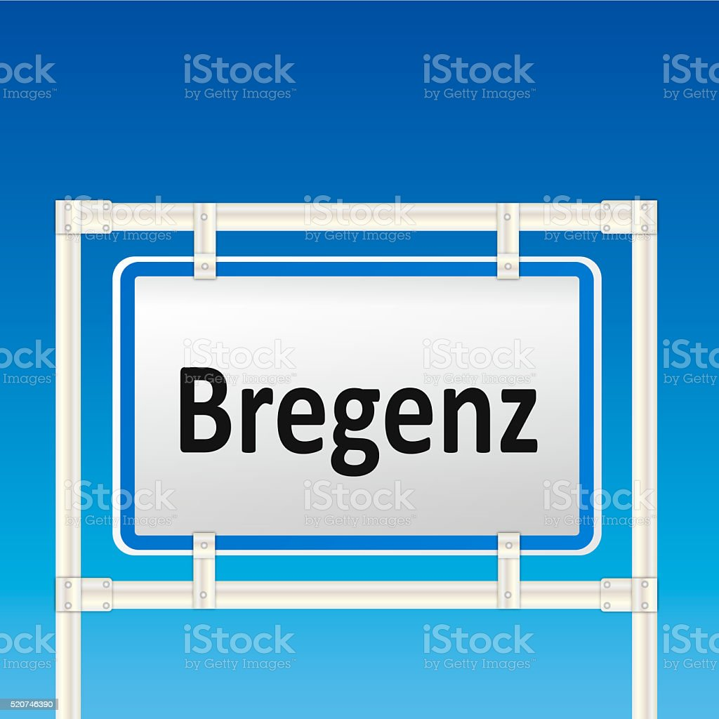 Austrian City Sign of Bregenz stock photo