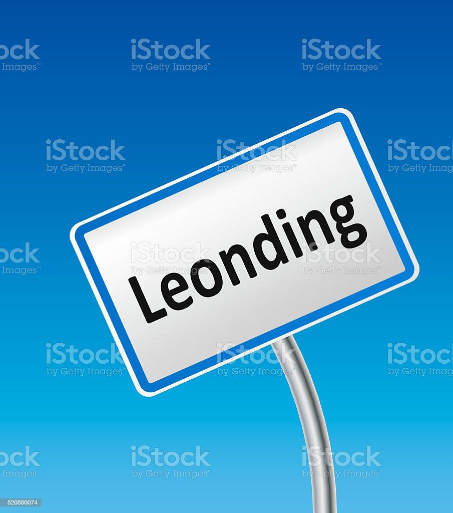 Austrian City Sign of Leonding stock photo