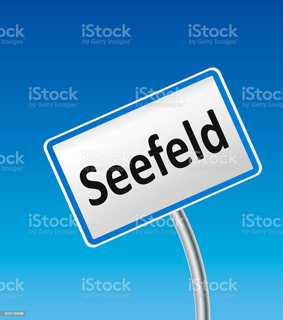 Austrian City Sign of Seefeld stock photo