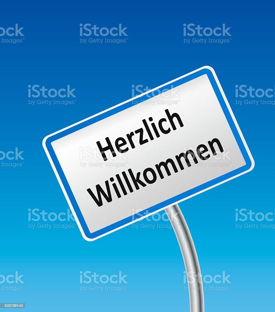 Austrian City Sign with text herzlich willkommen stock photo
