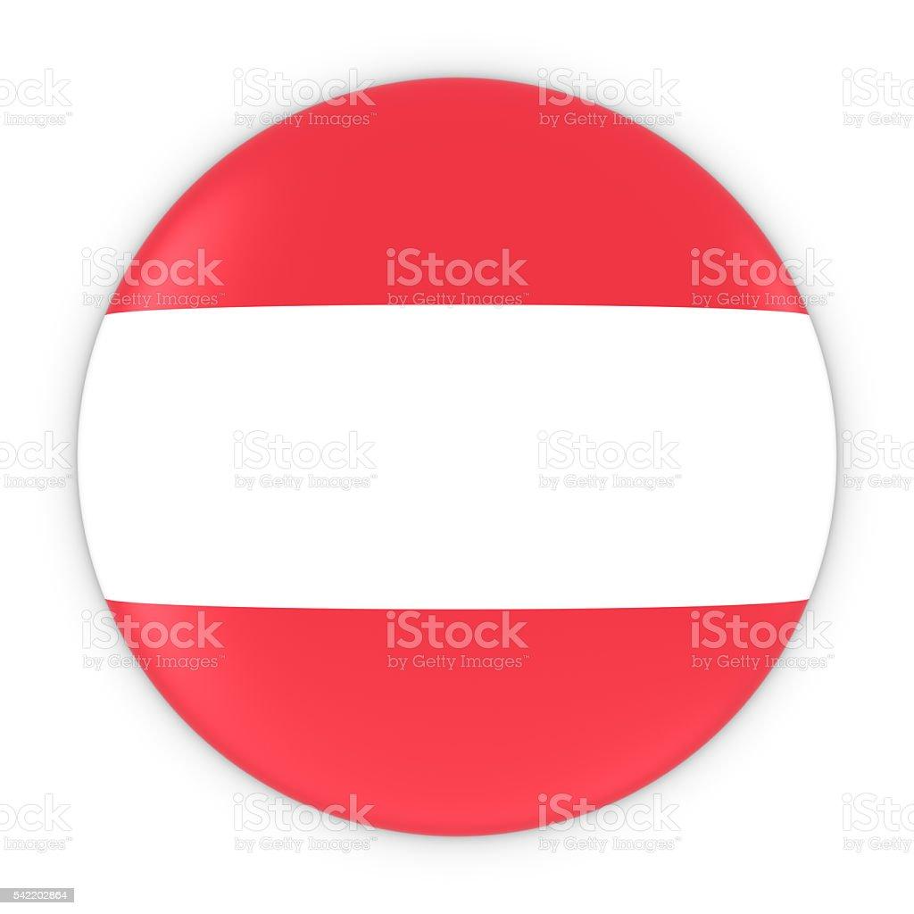 Austrian Flag Button - Flag of Austria Badge 3D Illustration stock photo