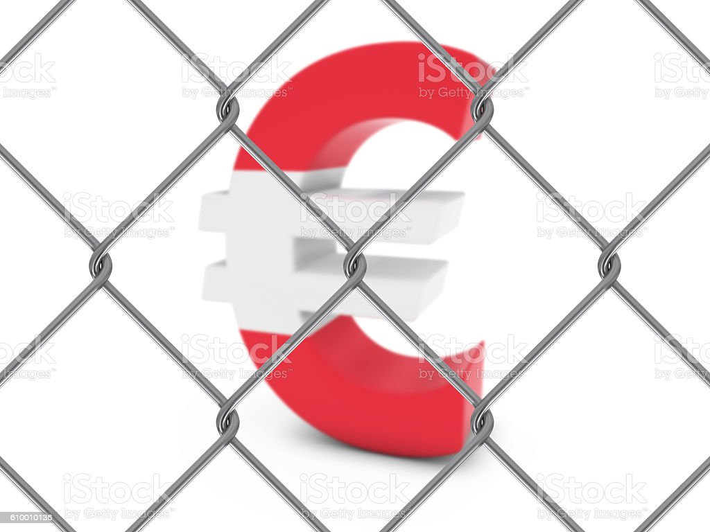 Austrian Flag Euro Symbol Behind Chain Link Fence stock photo