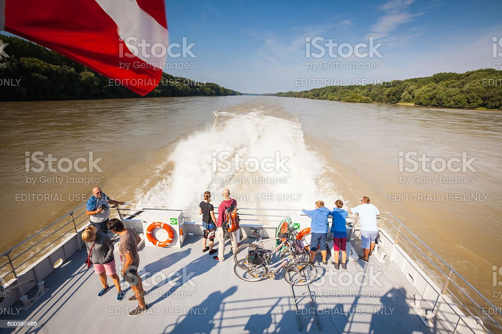 Austrian Flag on the Danube river stock photo