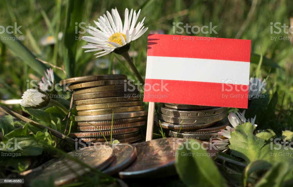 Austrian flag with stack of money coins with grass and flowers stock photo