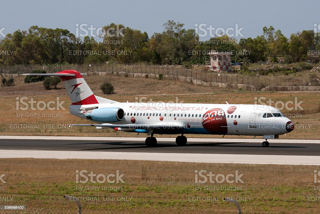 Austrian Fokker with stickers for the EURO2008! stock photo