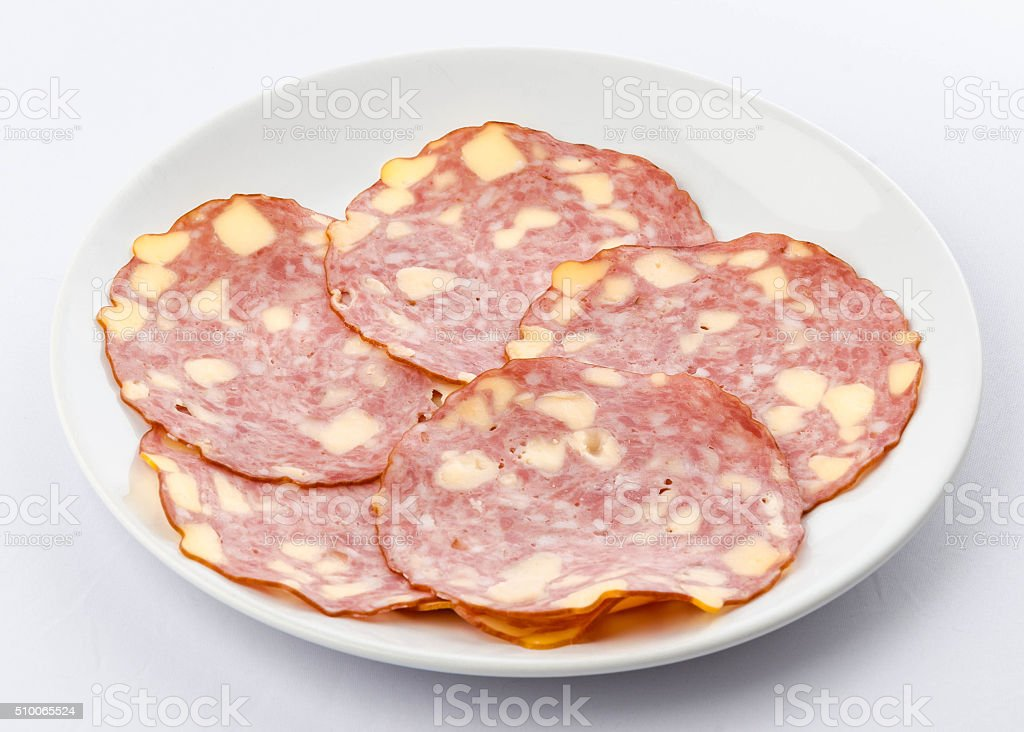Austrian German Käsewurst Pork Sausage on a plate stock photo