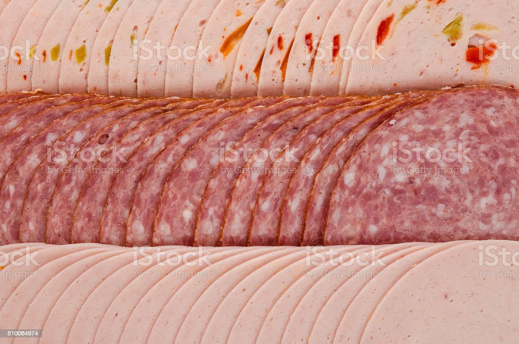 Austrian German pork sausage cold cuts stock photo