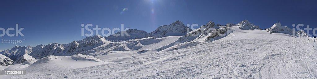 Austrian glacier panorama Stubaital stock photo