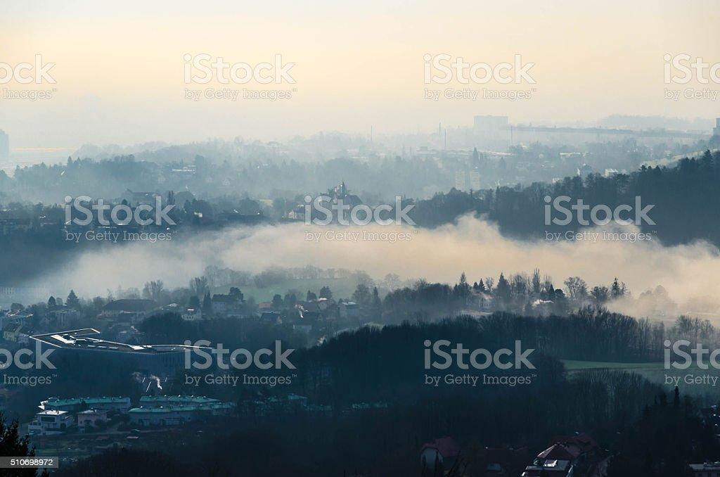 Austrian Hill Landscape Scene in Europe near Pöstlingberg Hill stock photo