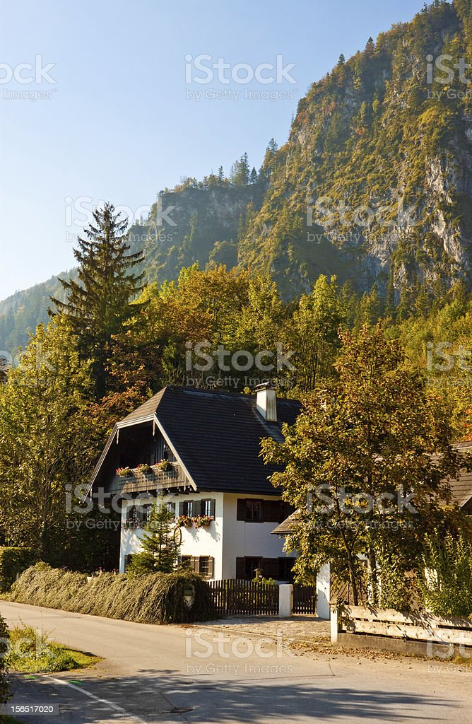 austrian house in a mountain village stock photo