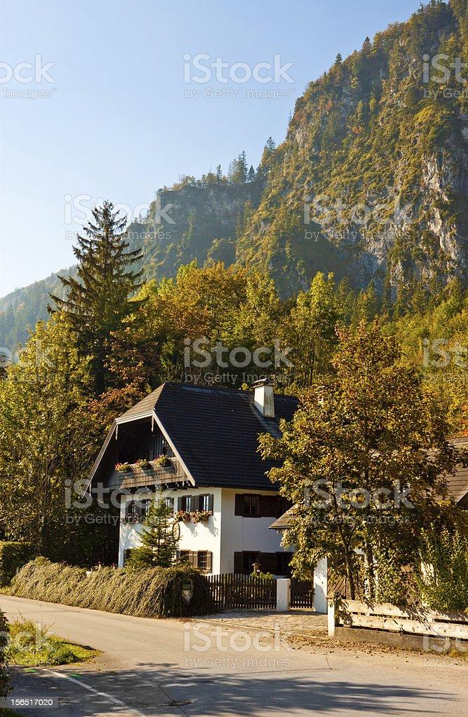 austrian house in a mountain village stock photo