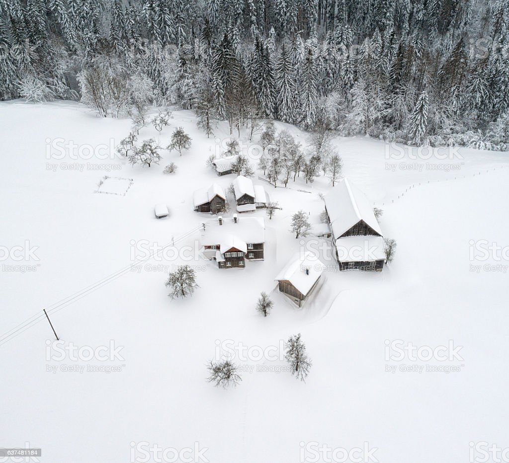 Austrian Mountain Village completely covered with Snow stock photo