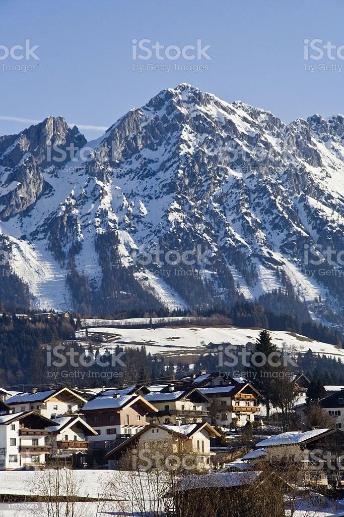 Austrian Mountain Village in Winter stock photo
