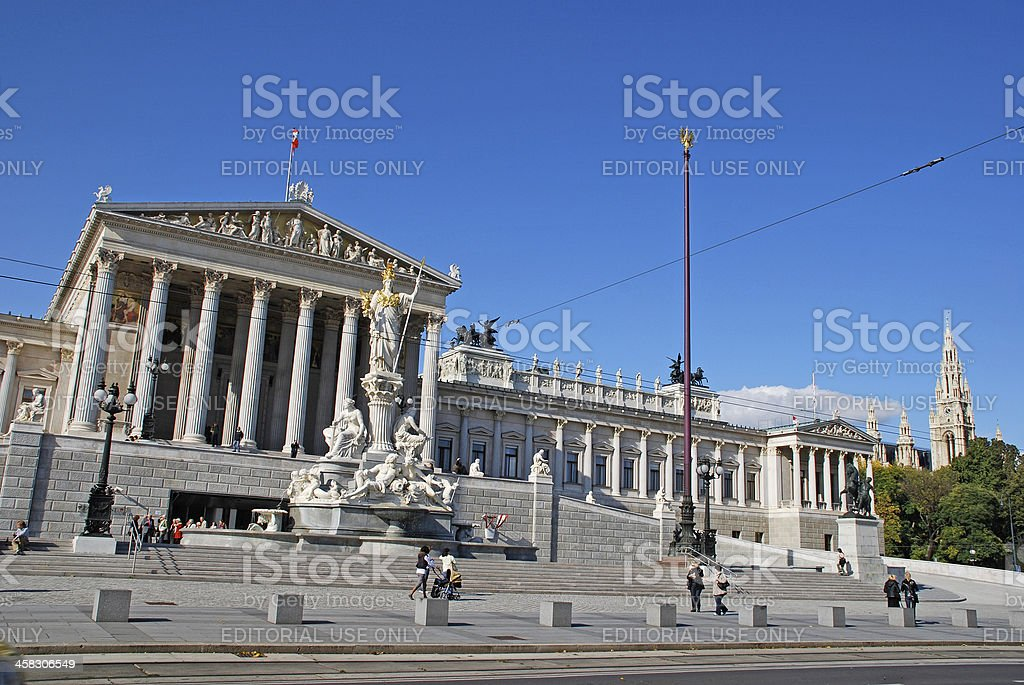 Austrian parlament (Vienna, Austria) royalty-free stock photo