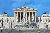 Austrian Parliament Building and Pallas Athene Fountain in Vienna