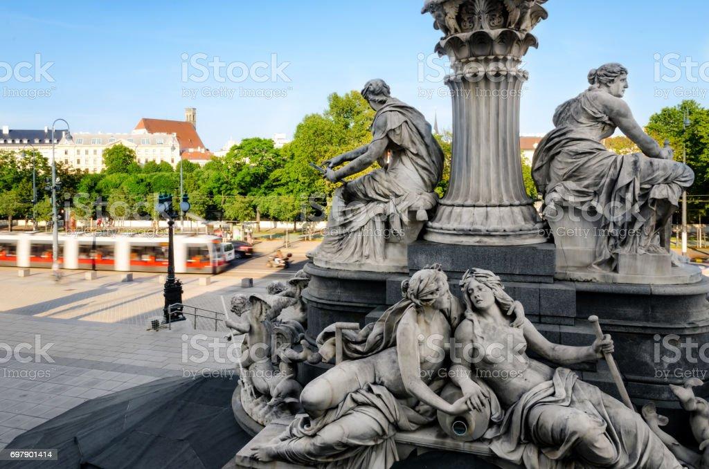 Austrian Parliament Building, pallas athena fountain stock photo