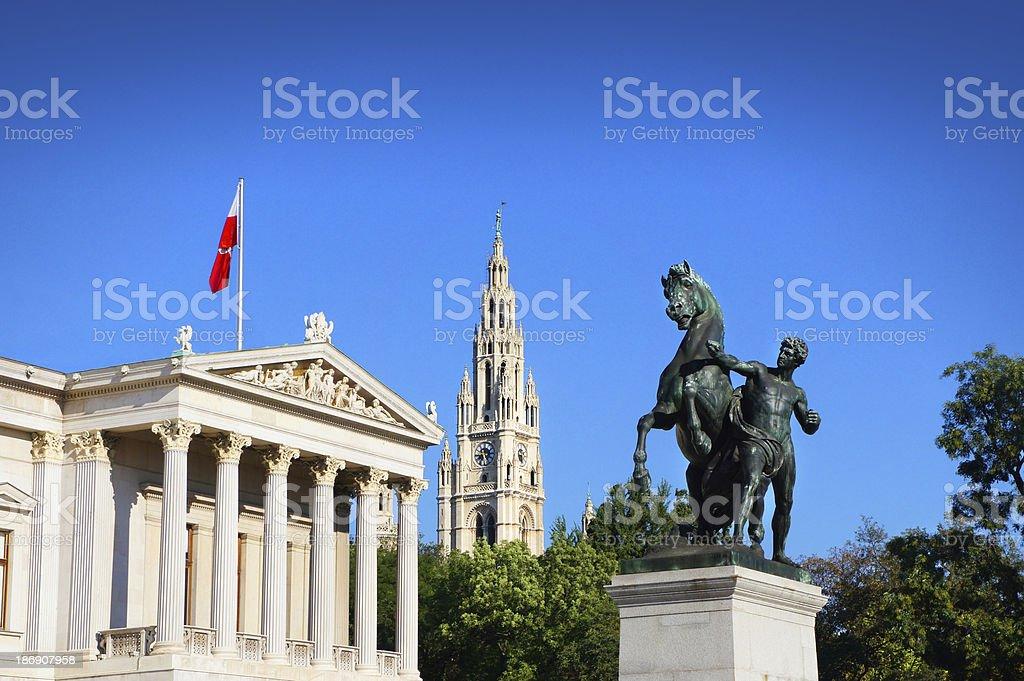 Austrian Parliament Building, Vienna, Austria stock photo