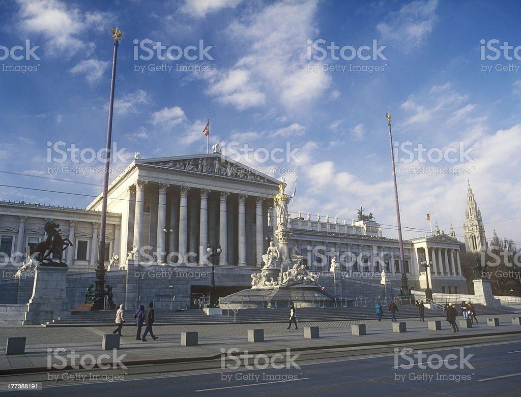 Austrian parliament in Vienna, Austria. stock photo