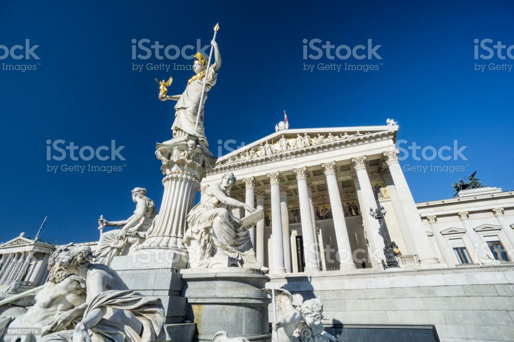 Austrian parliament with clear blue sky stock photo