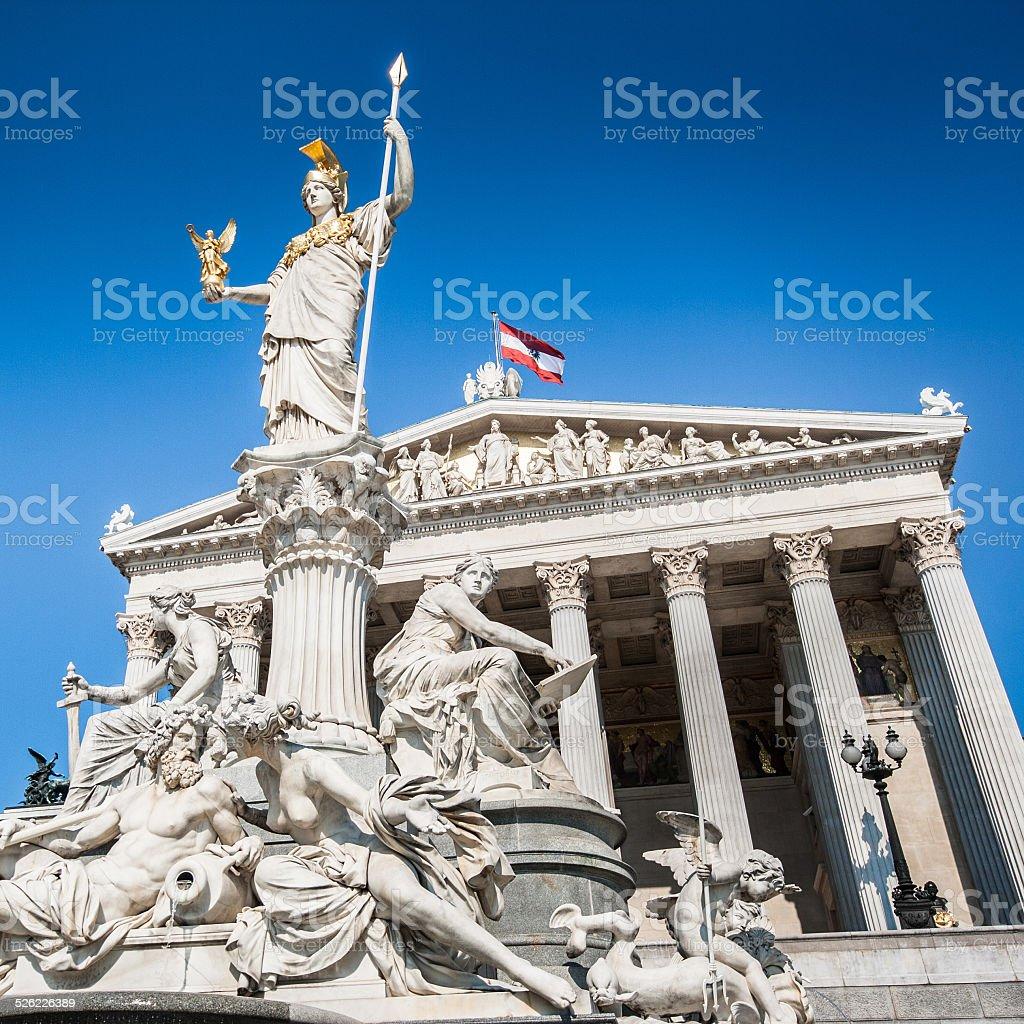 Austrian parliament with Pallas Athena statue, Vienna, Austria stock photo