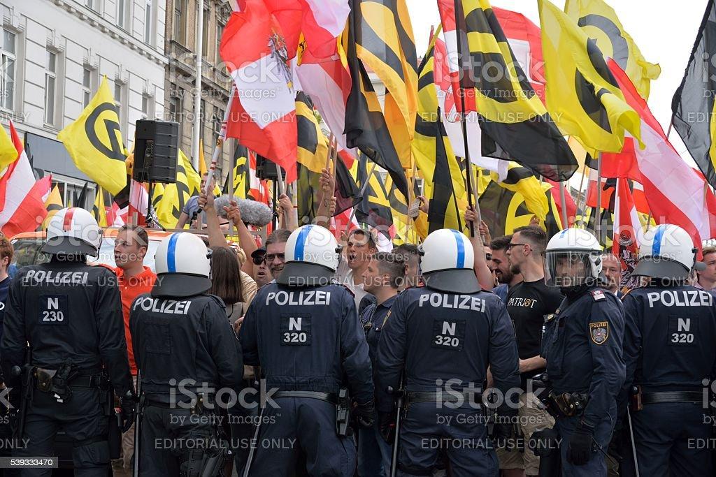 Austrian police against demonstrators stock photo