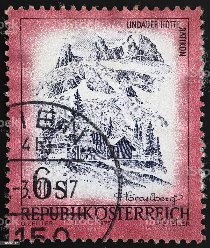 Austrian postage stamp -  Lindauer Hütte im Rätikon, Vorarlber stock photo
