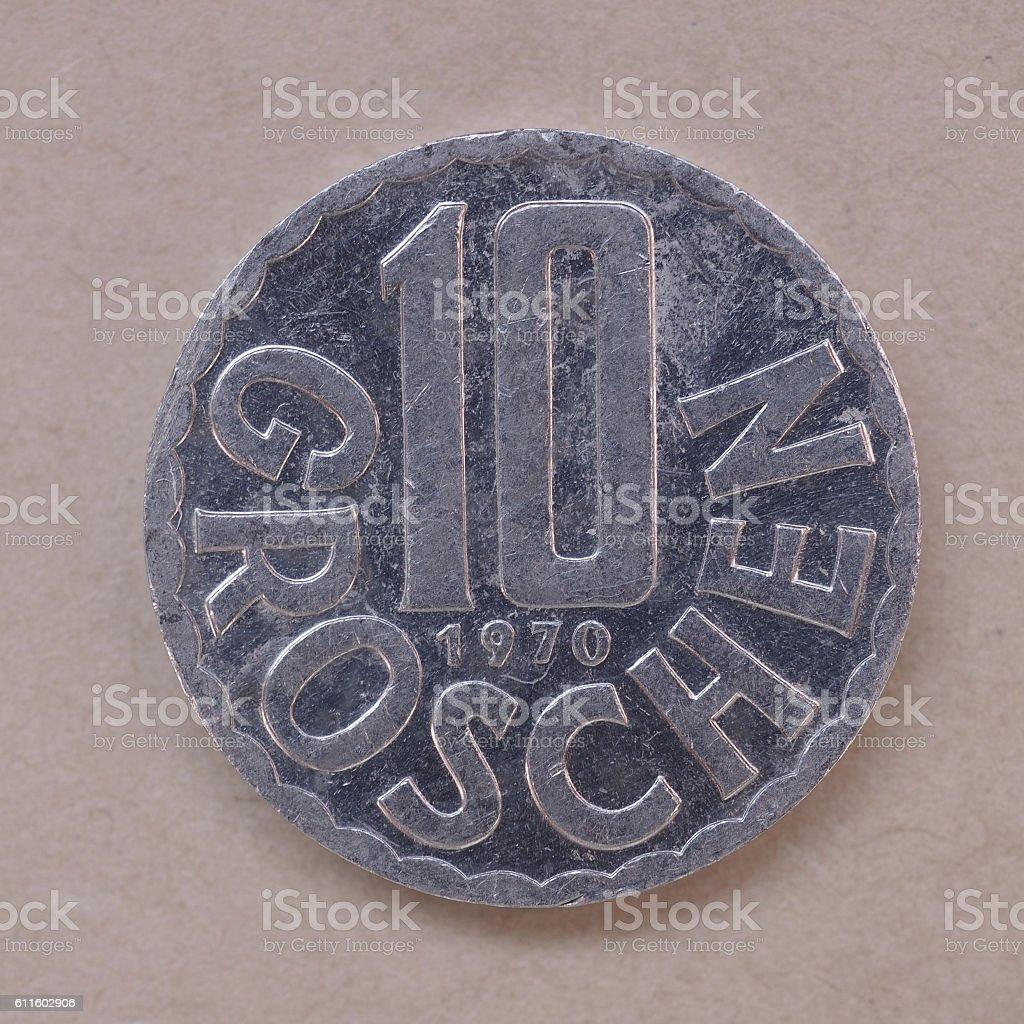 Austrian pre-Euro coin stock photo