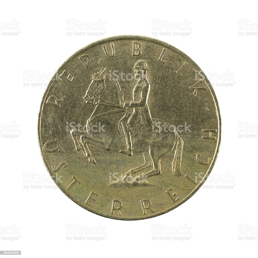 5 austrian schilling coin (1974) reverse isolated on white background stock photo