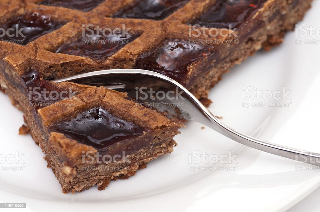 Austrian tarte with jam and almonds stock photo