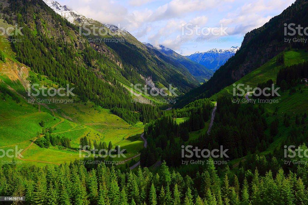 Austrian Tirol Alpine landscape, Innsbruck, Hohe Tauern, Kaunertal Mountain road stock photo