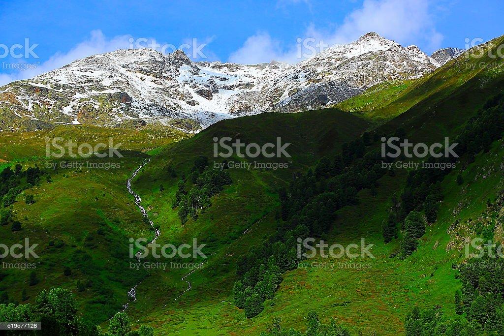 Austrian Tirol Alpine landscape, Innsbruck, Hohe Tauern, Kaunertal Mountain road stock photo
