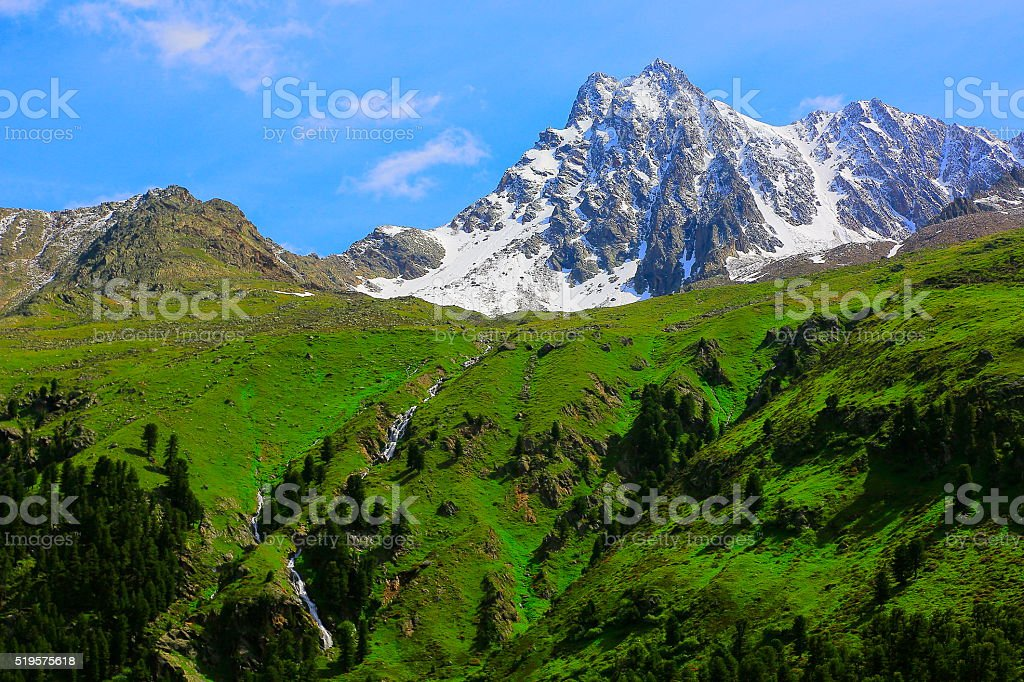 Austrian Tirol Alpine landscape near Innsbruck, Kaunertal Mountain road stock photo