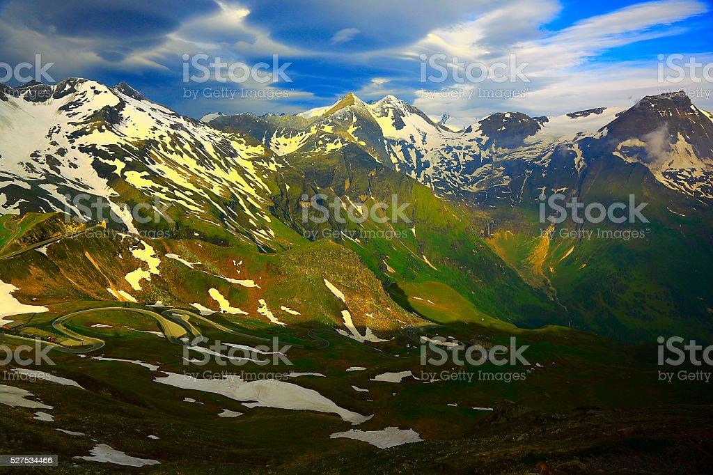Austrian Tirol Alpine paradise landscape at sunrise - Grossglockner road stock photo