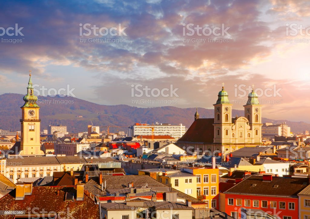 Austrian town Linz with Old Cathedral stock photo