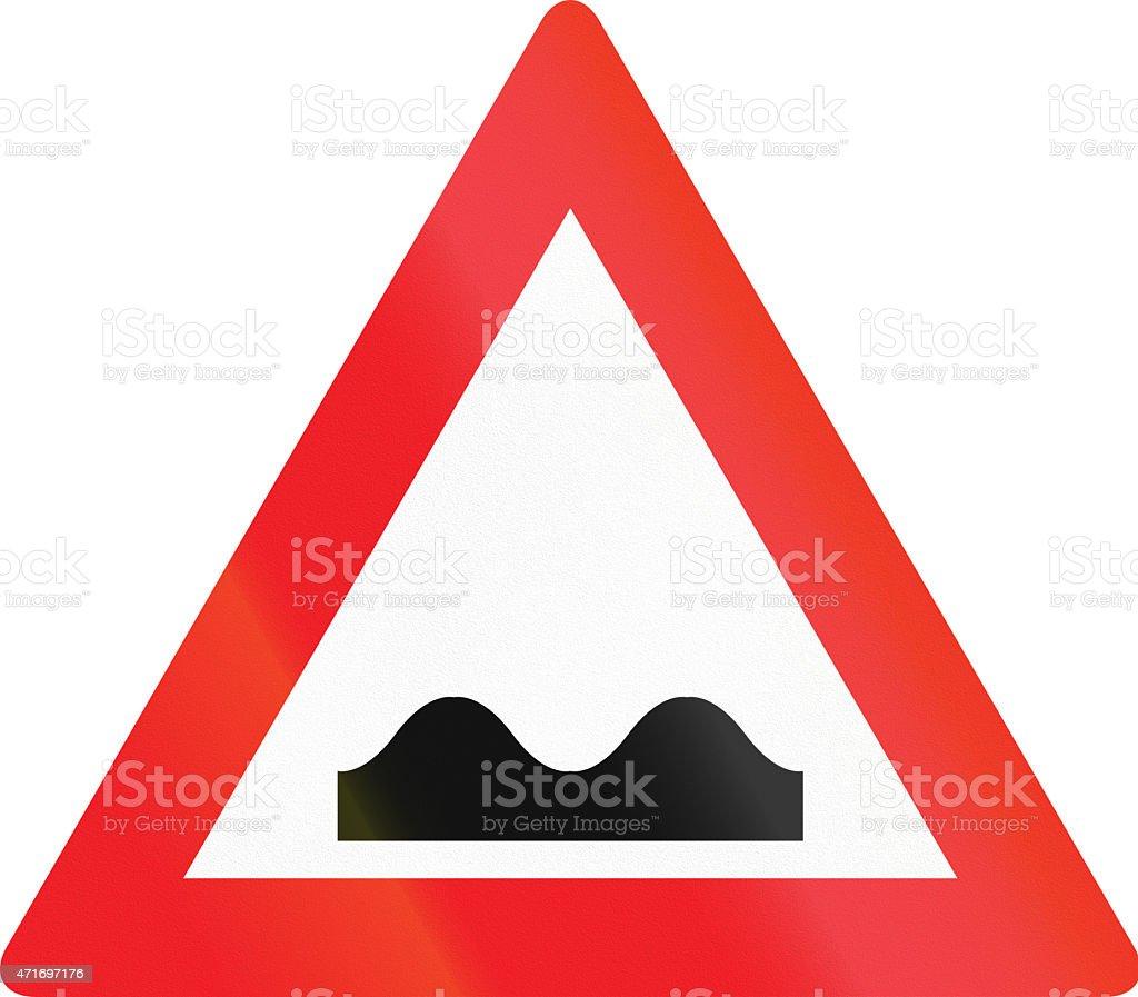 Austrian Uneven Road Sign stock photo
