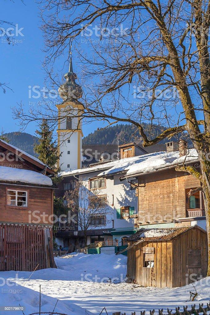Austrian Village in Winter stock photo