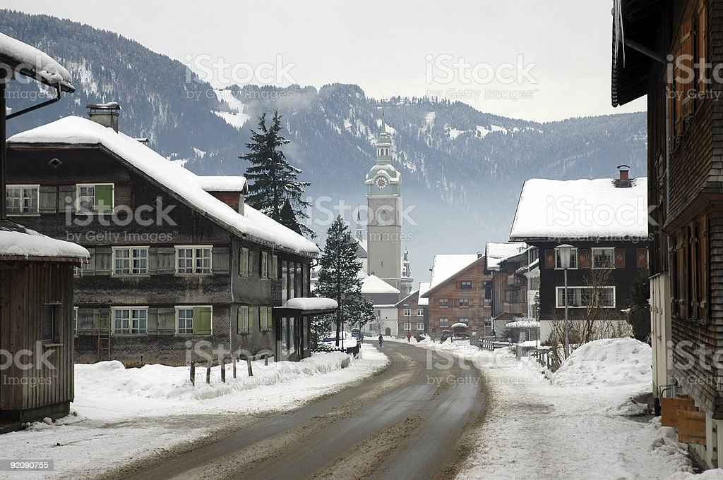 Austrian village in winter stock photo