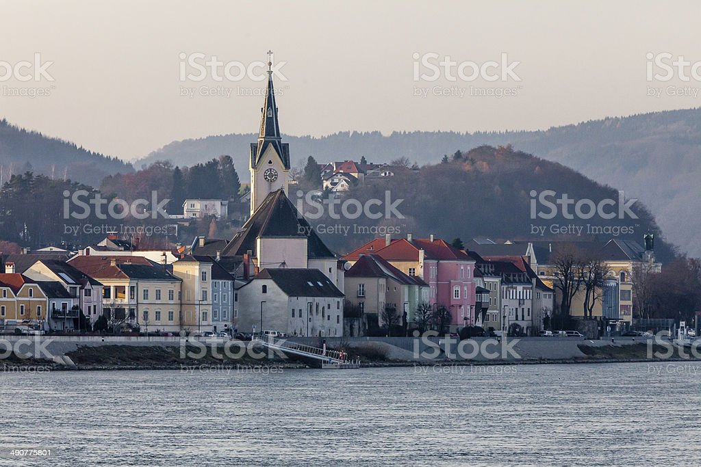 Austrian Village on Danube River December stock photo